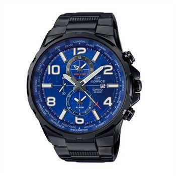 CASIO EDIFICE 世界地圖樣貌呈現運動時尚腕錶-藍面-EFR-302BK-2A