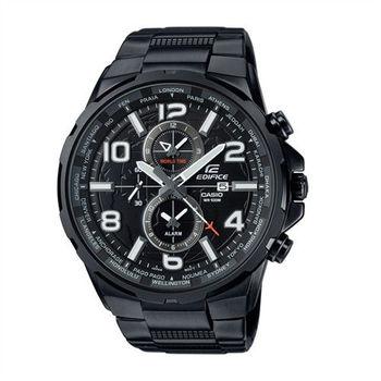 CASIO EDIFICE 世界地圖樣貌呈現運動時尚腕錶-黑-EFR-302BK-1A