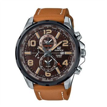 CASIO EDIFICE 世界地圖樣貌呈現運動時尚皮革腕錶-咖啡-EFR-302BL-5A