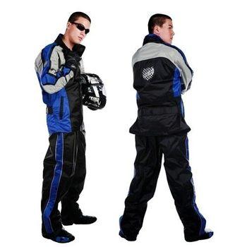 【東伸】一級方程式賽車型兩件式風雨衣-寶藍色