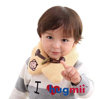 hugmii兒童單色牛角扣保暖脖圍_米色猴子