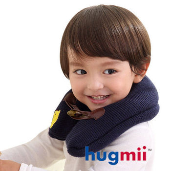 hugmii兒童單色牛角扣保暖脖圍_藏青獅子
