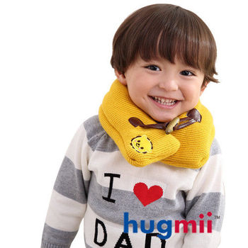 hugmii兒童單色牛角扣保暖脖圍_黃色獅子