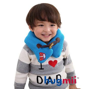 hugmii兒童單色牛角扣保暖脖圍_藍色賽車