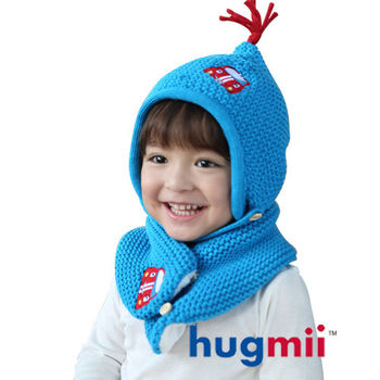 hugmii 兒童單色保暖護耳帽脖圍組合_天藍