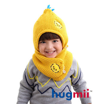 hugmii 兒童單色保暖護耳帽脖圍組合_黃