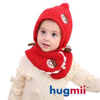 hugmii 兒童單色保暖護耳帽脖圍組合_紅