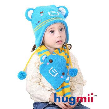 hugmii 兒童雙耳動物造型護耳帽圍巾組_大象