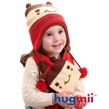 hugmii 兒童雙耳動物造型護耳帽圍巾組_瓢蟲