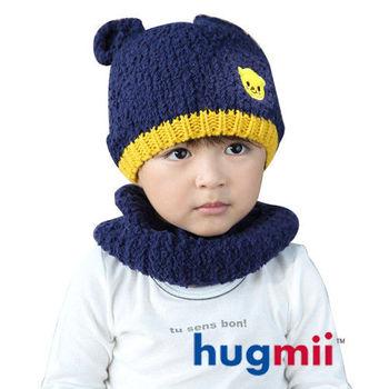 hugmii 兒童保暖雙耳造型帽脖圍組_深藍