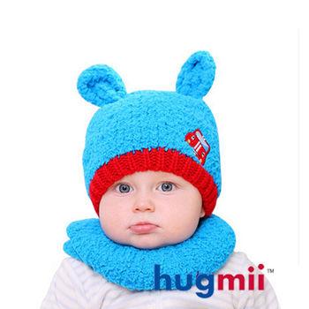 hugmii 兒童保暖雙耳造型帽脖圍組_天藍
