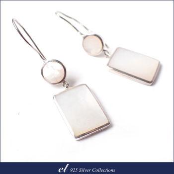 【el 925銀飾】珍珠母貝純銀耳環 Reflex