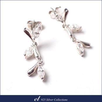 【el 925銀飾】方晶鋯石純銀耳環 Leaves