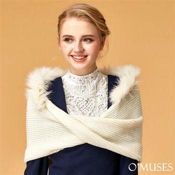 【OMUSES】羊絨毛線披肩11-9233(黑 . 白)