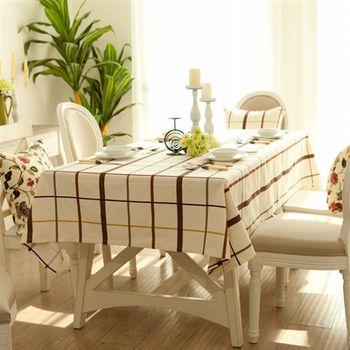 【協貿】時尚簡約宜家棉麻咖啡格子桌布