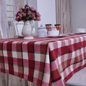 【協貿】高檔精密英倫格子紅色桌布