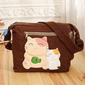 【ABS貝斯貓】胖胖貓拼布包 斜背包 (咖啡88-189)