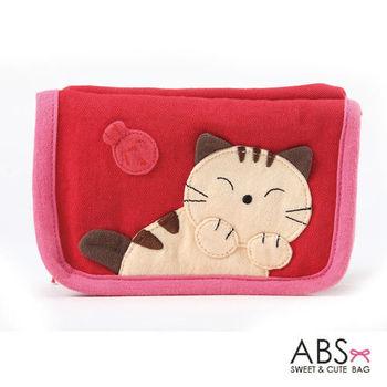 【ABS貝斯貓】害羞貓皮夾 短夾 (紅色88-005)