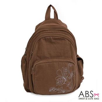【ABS貝斯貓】素雅花圖騰後背包 拼布包(咖啡88-037)
