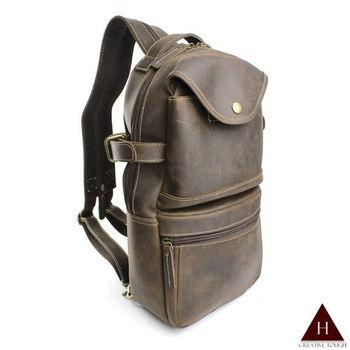 【H-CT】瘋馬皮多用途設計款真皮胸包後背包(PDA-L6037-Z)