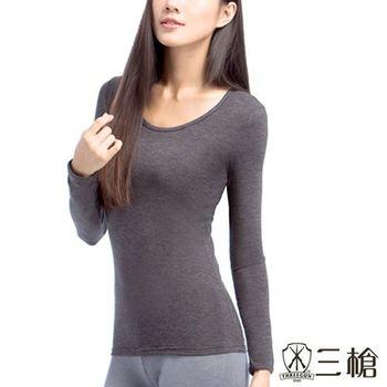 【三槍牌】精典時尚女圓領長袖發熱衣2件組,(黑玫瑰粉各1)
