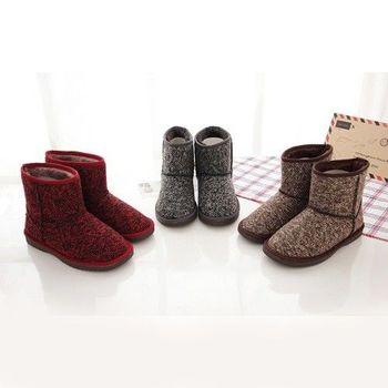 《DOOK》韓版 混色毛呢 雪靴