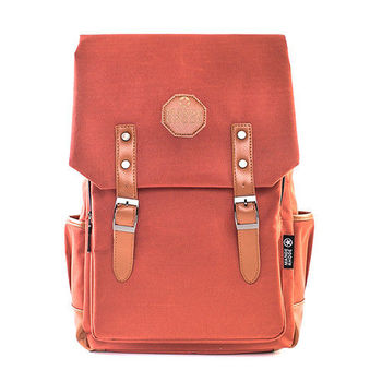 曼德羅德 學院休閒風皮革配色後背包-622-磚紅