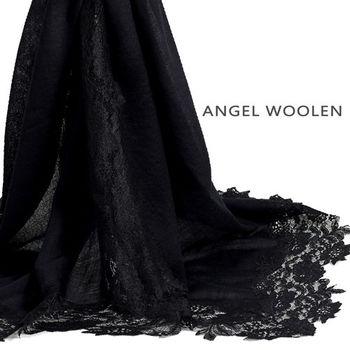 【Angel Woolen】珍藏蕾絲(神秘黑) 印度手工蕾絲喀什米爾羊毛披肩