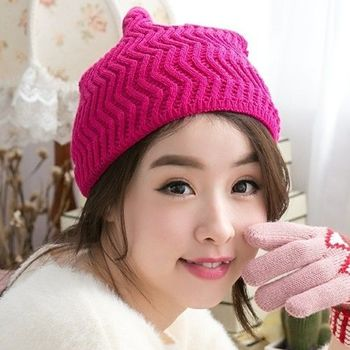【好棉嚴選】暖之好物  日韓系 Z紋圍巾針織帽/毛線帽 秋冬保暖 兩用造型(桃紅)