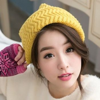 【好棉嚴選】暖之好物  日韓系 Z紋圍巾針織帽/毛線帽 秋冬保暖 兩用造型(黃)