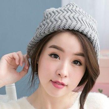【好棉嚴選】暖之好物  日韓系 Z紋圍巾針織帽/毛線帽 秋冬保暖 兩用造型(灰)
