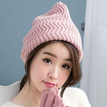 【好棉嚴選】暖之好物  日韓系 Z紋圍巾針織帽/毛線帽 秋冬保暖 兩用造型(粉)