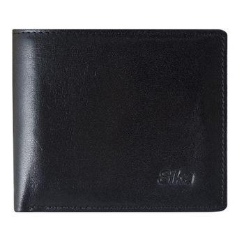 SIKA義大利素面牛皮簡約中性短皮夾A8253-03質感黑