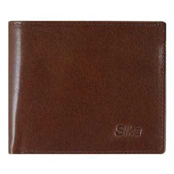 SIKA義大利素面牛皮簡約中性短皮夾A8253-02深咖啡