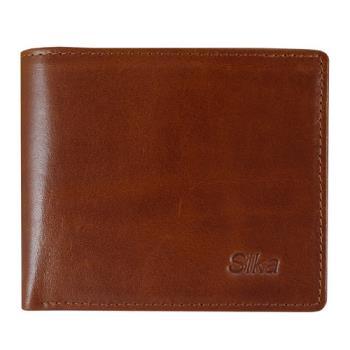 SIKA義大利素面牛皮簡約中性短皮夾A8253-01原味褐