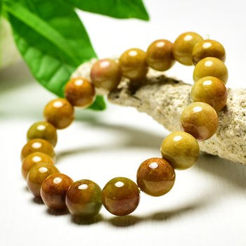【東方翡翠寶石】黃翡A貨翡翠珠串手環 (黃色,珠徑約9.5mm) OYL004