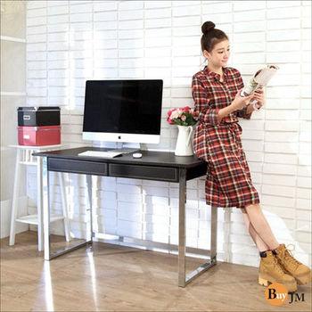 BuyJM 馬鞍皮電鍍粗腳雙抽大書桌/電腦桌