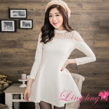 lingling中大尺碼 微厚質感蕾絲拼接紗洋裝(純真白)A2667