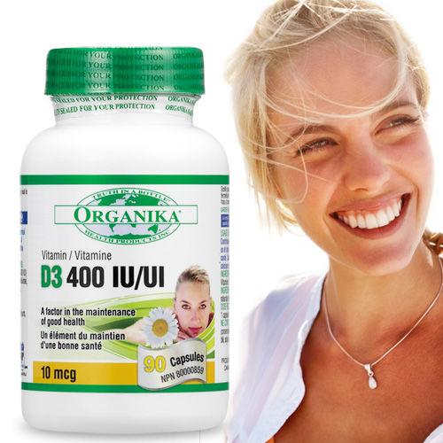 【Organika優格康】 維生素D3膠囊400IU(90顆 45天份)