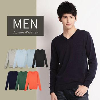超值二件組【Highly】帥氣型男簡約純色V領針織衫 (S-XL)