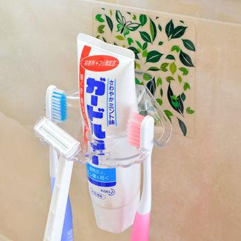 【日本MAKINOU】環保無痕魔術貼牙刷架(2入)