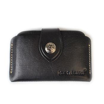 【zoeh-forest】極簡植鞣牛皮格名片夾 卡片包 鈔票夾(黑色)