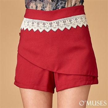 【OMUSES】時尚蕾絲短褲裙14-6938(S-L)