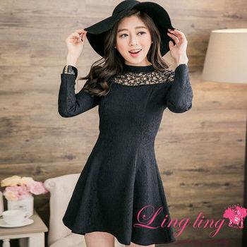 【lingling】微厚質感蕾絲拼接紗洋裝(氣質黑)A2667-05