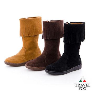 Travel Fox(女)搖擺的那個誰 牛皮流蘇半高筒靴 - 四色