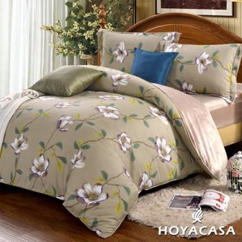 《HOYACASA 花漫夜語》加大四件式芯舒絨兩用被床包組