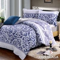 ~HOYACASA 藍調魅影~雙人四件式芯舒絨兩用被床包組