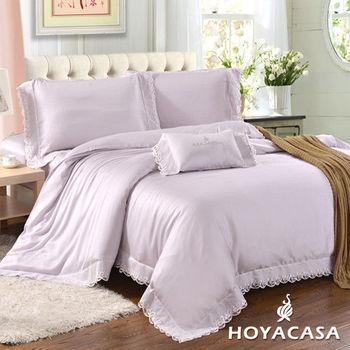 《HOYACASA 蕾妮愛瑪》加大四件式100%天絲蕾絲被套床包組