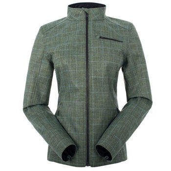 【聖伯納 St.Bonalt】女-短版英倫風時尚防水機能風衣-青綠格子(80176)