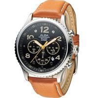 ALBA 休閒海軍風潮流腕錶 VD53 ^#45 X236J AT3959X1 黑x咖啡